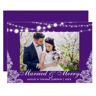Elegant Married & Merry Holiday Photo Card PB