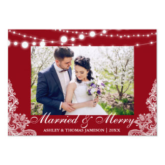 Elegant Married & Merry Holiday Photo Card R