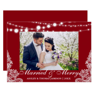 Elegant Married & Merry Holiday Photo Card RB