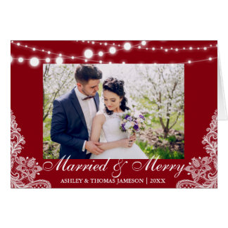 Elegant Married & Merry Holiday Photo Card Red