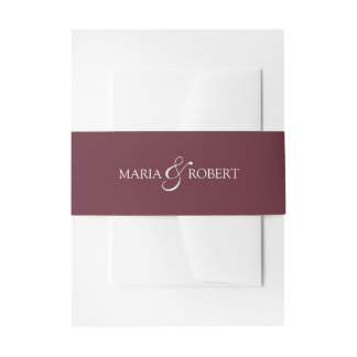 Elegant Marsala Wedding Belly Bands Invitation Belly Band