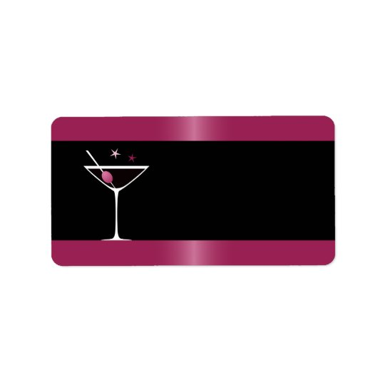 Elegant martini cocktail drink glass fuchsia black label