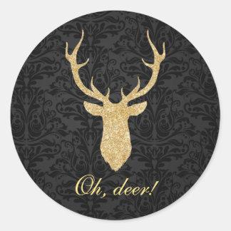 Elegant Masculine Gold Reindeer Head Black Damask Round Sticker