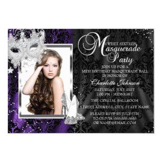"Elegant Mask & Heels Purple Masquerade Sweet 16 5"" X 7"" Invitation Card"