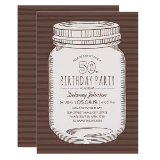 Elegant Mason Jar Rustic 50th Birthday Party Card