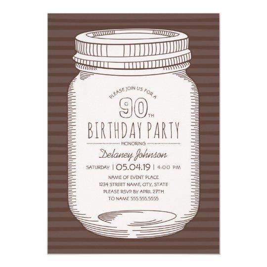 Elegant Mason Jar Rustic 90th Birthday Party Card