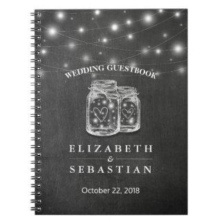Elegant Mason Jar String Lights Wedding Guestbook Notebook