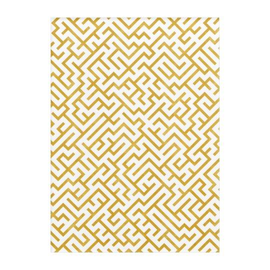 Elegant Maze Modern Art - Gold & White