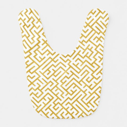 Elegant Maze Modern Art - Gold & White Bib