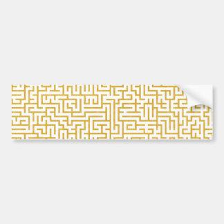 Elegant Maze Modern Art - Gold & White Bumper Sticker