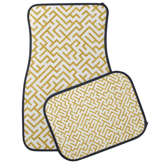 Elegant Maze Modern Art - Gold & White Car Mat