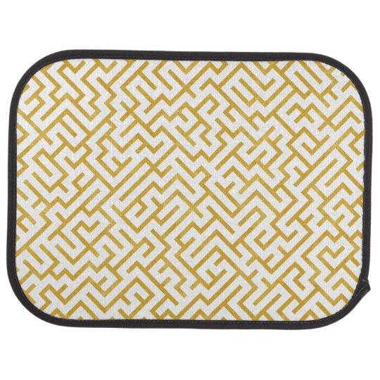 Elegant Maze Modern Art - Gold & White Car Mat