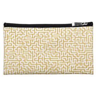 Elegant Maze Modern Art - Gold & White Cosmetic Bag
