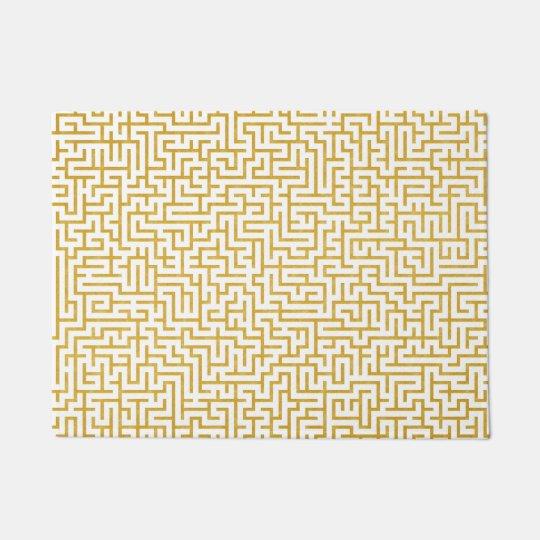 Elegant Maze Modern Art - Gold & White Doormat