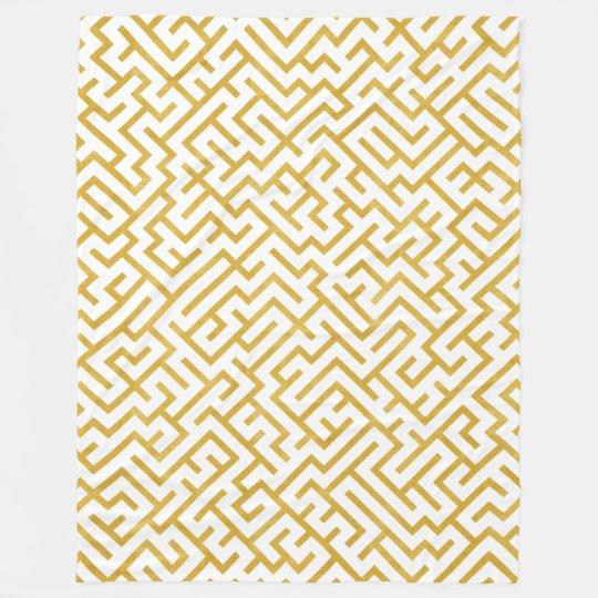 Elegant Maze Modern Art - Gold & White Fleece Blanket