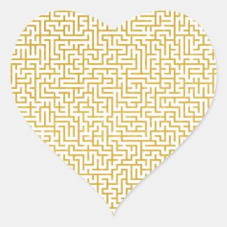 Elegant Maze Modern Art - Gold & White Heart Sticker