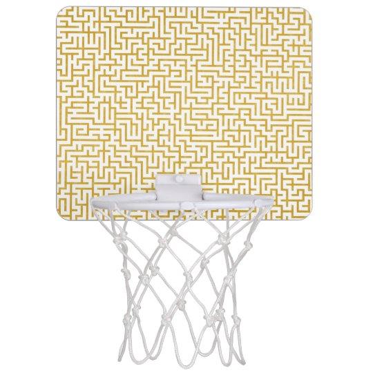 Elegant Maze Modern Art - Gold & White Mini Basketball Hoop