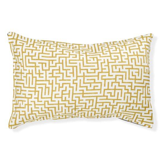 Elegant Maze Modern Art - Gold & White Pet Bed