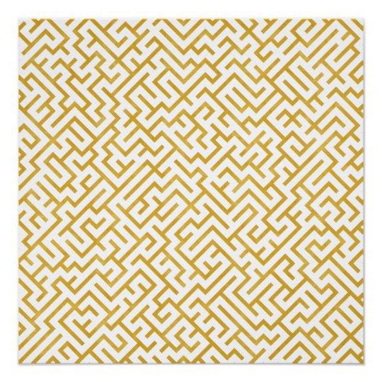 Elegant Maze Modern Art - Gold & White Poster