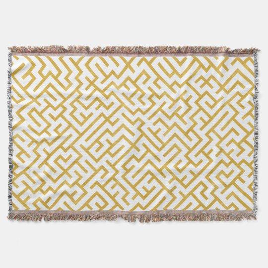 Elegant Maze Modern Art - Gold & White Throw Blanket