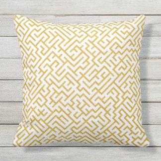Elegant Maze Modern Art - Gold & White Throw Pillow