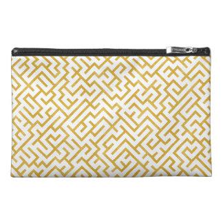 Elegant Maze Modern Art - Gold & White Travel Accessory Bag