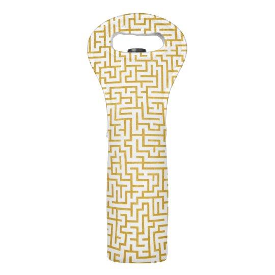 Elegant Maze Modern Art - Gold & White Wine Bag