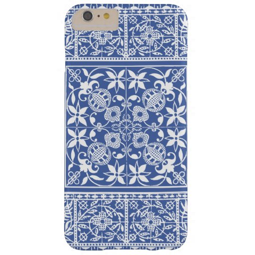 Elegant Medieval French Lace Blue and White Barely There iPhone 6 Plus Case