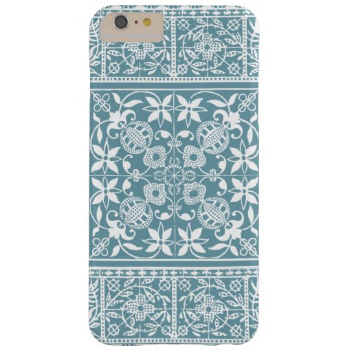 Elegant Medieval French Lace Green and White Barely There iPhone 6 Plus Case