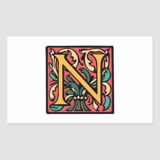 Elegant Medieval Initial N Antique Monogram Sticker