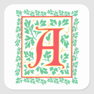 Elegant Medieval Letter A Antique Monogram Square Sticker
