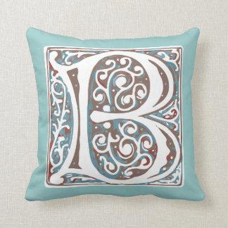Elegant Medieval Letter B Antique Monogram Throw Pillow