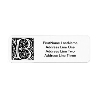 Elegant Medieval Renaissance Letter B Monogram Return Address Label
