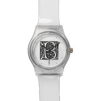 Elegant Medieval Renaissance Letter B Monogram Wrist Watches