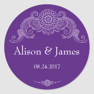 Elegant Mehndi design round stickers-purple Classic Round Sticker