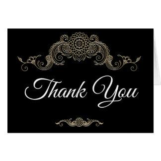 Elegant Mehndi design thank you card-black Note Card