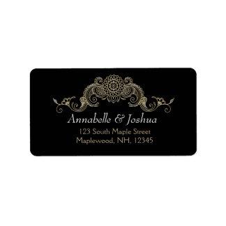 Elegant Mehndi design wedding address labels- gold