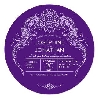 "Elegant Mehndi Design wedding invitation-purple 5.25"" Square Invitation Card"