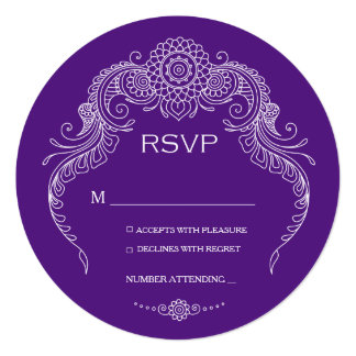 "Elegant Mehndi Design wedding RSVP-purple 5.25"" Square Invitation Card"