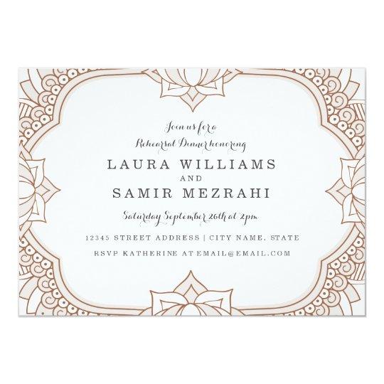 Elegant Mehndi Rehearsal Dinner Card