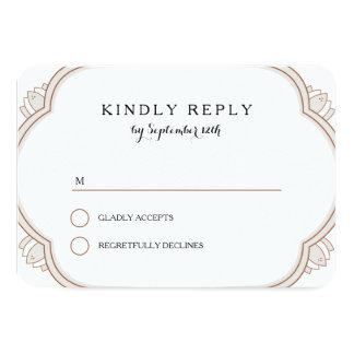 "Elegant Mehndi rsvp 3.5"" X 5"" Invitation Card"
