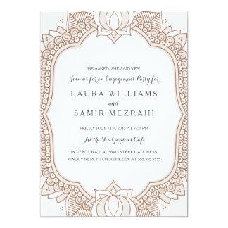 "Elegant Mehndi Wedding Engagement Party 5"" X 7"" Invitation Card"