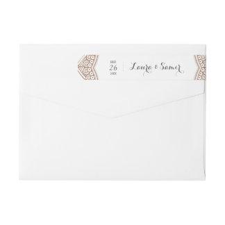 Elegant Mehndi Wedding Wraparound Return Address Label