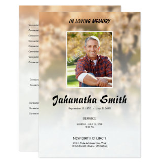 Elegant Memorial Funeral Program Card