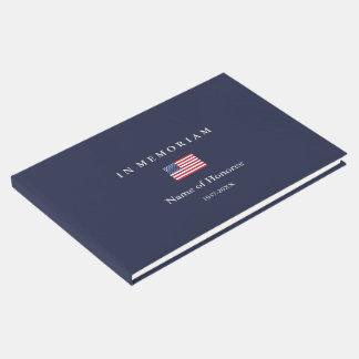 Elegant Memorial United States Flag Guest Book