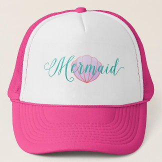Elegant Mermaid in Turquoise - pink purple shell Trucker Hat