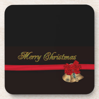 Elegant Merry Christmas Beverage Coaster