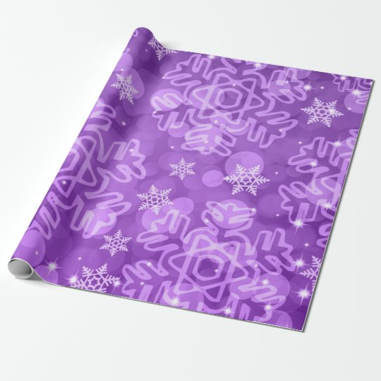 Elegant Merry Christmas Bokeh Purple Wrapping Paper