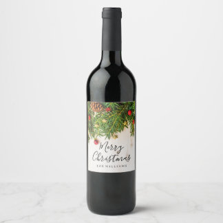 Elegant Merry Christmas Script Rustic Wood Wine Label
