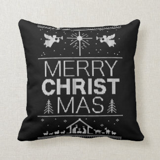 Elegant Merry Christmas Sweater Religious Colorful Throw Pillow